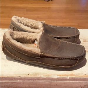 New Ugg Ascot brown leather wool slippers.